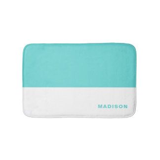 Tiffany Blue Color Block Personalized Bath Mat