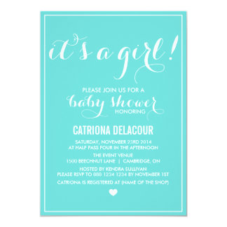 Tiffany Blue It's a Girl Baby Shower Invitation