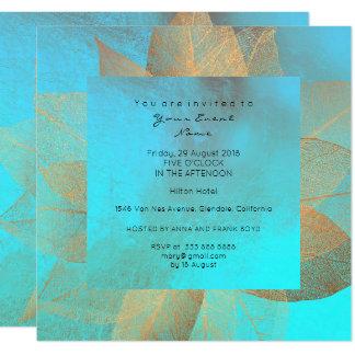 Tiffany Blue Metallic Leaf Gold Minimal Shiny Card