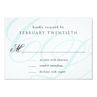 Tiffany Blue Monogrammed Wedding RSVP Cards