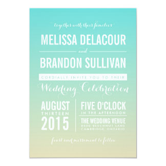 Tiffany Blue Ombre Beach Wedding Invitation
