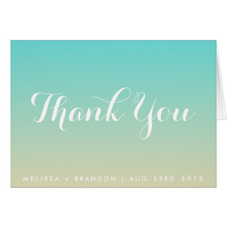 Tiffany Blue Ombre Beach Wedding Thank You Card
