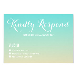 Tiffany Blue Ombre Wedding RSVP Card 9 Cm X 13 Cm Invitation Card