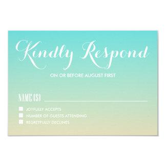 Tiffany Blue Ombre Wedding RSVP Card 9 Cm X 13 Cm Invitation Card