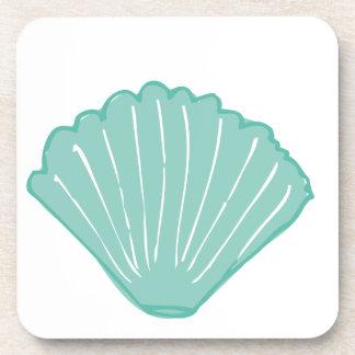 Tiffany Blue Seashell Illustration Drink Coasters