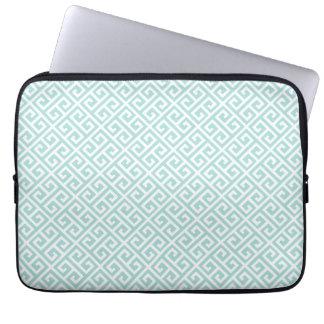 Tiffany Blue & White Greek Key Laptop Sleeve