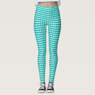 Tiffany Blue & White Plaid Leggings