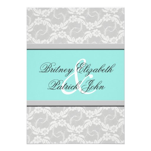 Tiffany Wedding Invitations: Blue White Silver Lace Wedding Invitations