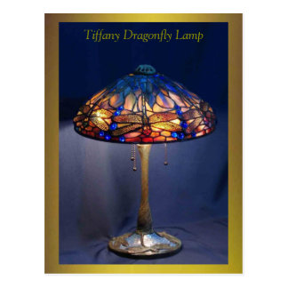 Tiffany Dragonfly Lamp Excellent Art Postcard