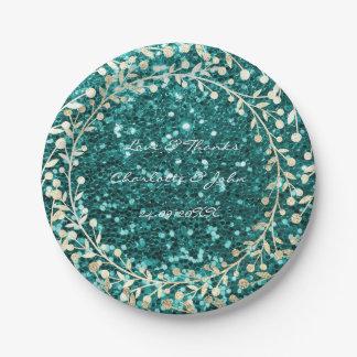 Tiffany Emerald Glitter Foxier Gold Wreath Garland Paper Plate
