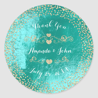 Tiffany  Metallic Glitter Save the Date Thank You Round Sticker