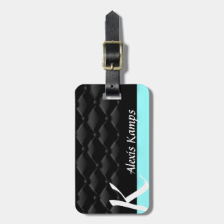 Tiffany Mint Black Tufted Custom Luggage Tag