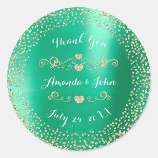 Tiffany Mint Glitter Save the Date Thank You Round Sticker