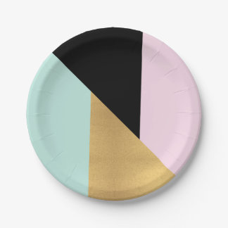 Tiffany Mint Pink Gold Glass Metallic Geometry 7 Inch Paper Plate