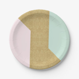 Tiffany Mint Pink Gold Glass Patel Geometry 7 Inch Paper Plate