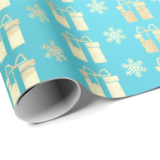 Tiffany Ocean BeachGold Christmas Present Gift Lux Wrapping Paper
