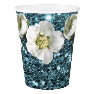 Tiffany Ocean Blue Glitter  Flower Jasmin Sequin Paper Cup