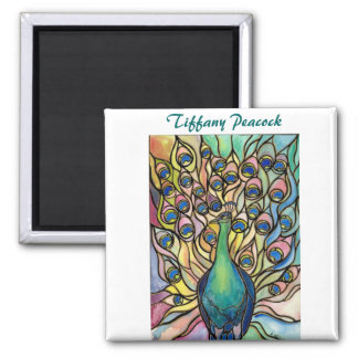 Tiffany Peacock Stained Glass style ART Magnet! Square Magnet