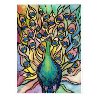 Tiffany Peacock Stained Glass style ARTpostcard Postcard