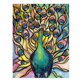 Tiffany Peacock Stained Glass style postcard