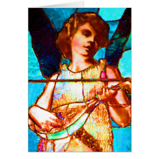 Tiffany Stained Glass Musical Angel Greeting Card
