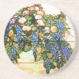 Tiffany Stained Glass Window Wisteria Vine Art Coaster