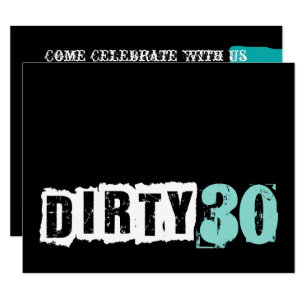 Tiffany Teal Blue Dirty Thirty 30th Birthday Party Invitation