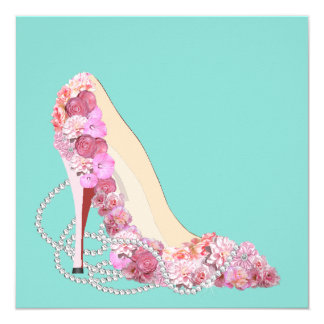Tiffany Teal Blue Floral Heels Party Invitation