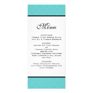 Tiffany Teal Wedding Menu Customized Rack Card