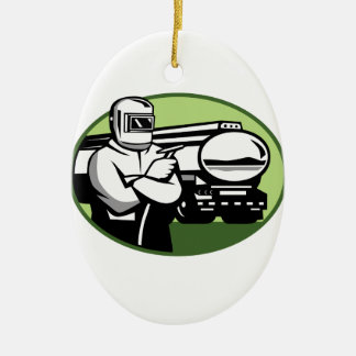 Tig Welder Tanker Truck Oval Ceramic Ornament