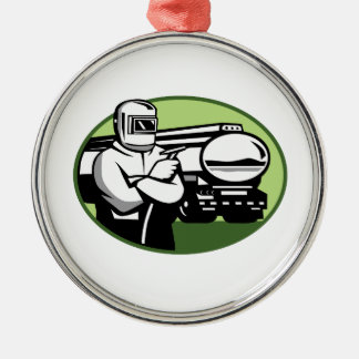 Tig Welder Tanker Truck Oval Metal Ornament