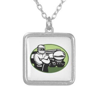 Tig Welder Tanker Truck Oval Silver Plated Necklace