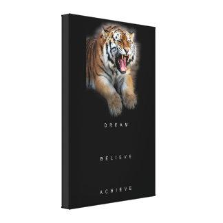 tiger achievement motivational inspirational quote canvas print