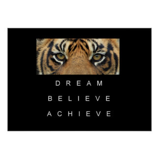 tiger achievement success motivation inspiration poster