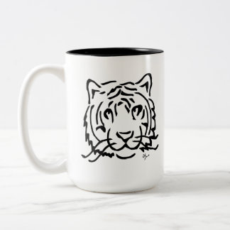 Tiger - Adolf Lorenzo Two-Tone Coffee Mug