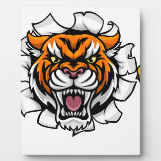 Tiger American Football Ball Breaking Background Plaque