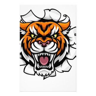 Tiger American Football Ball Breaking Background Stationery