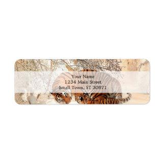 Tiger and cub - tiger return address label