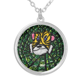Tiger and Emerald Silver Plated Necklace