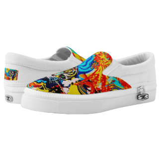 Tiger and Fire Bird #Shoes by WABStreetArt Slip-On Shoes