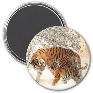 Tiger and Her cub 7.5 Cm Round Magnet