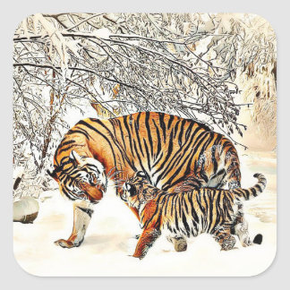Tiger and her Cub Winter Day Snowy Woods Sticker