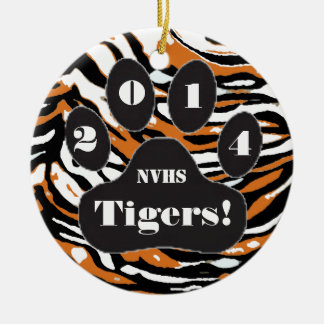Tiger and Paw Print-School Spirit Ceramic Ornament