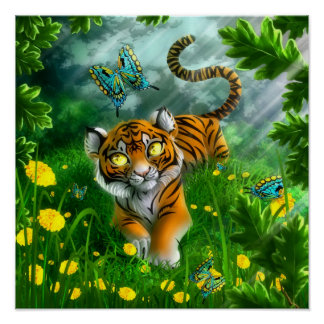 Tiger and the butterflies poster