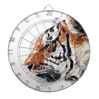 Tiger Animal Nature Painting Watercolor Profile Dartboard