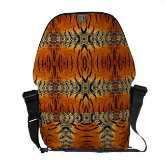 Tiger Animal Print + Striped Accents Rickshaw Bag Courier Bag
