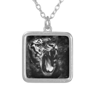 tiger animal silver plated necklace