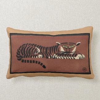 Tiger - Antiquarian, Colorful Book Illustration Lumbar Cushion