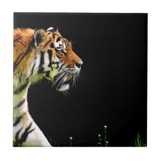 Tiger Approaching - Wild Animal Artwork Ceramic Tile