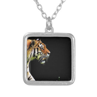 Tiger Approaching - Wild Animal Artwork Silver Plated Necklace